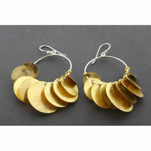 9 disc on hoop earring - gold plated | Trada Marketplace