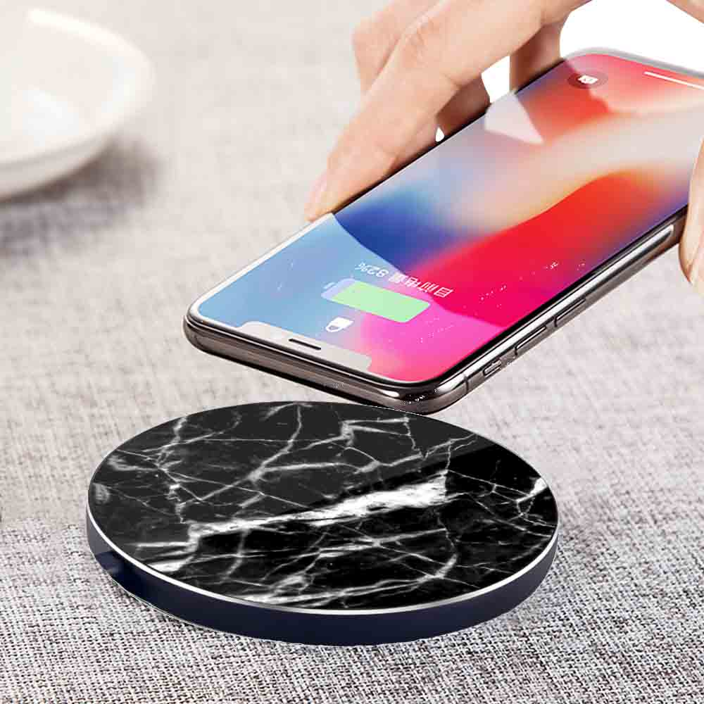 LuxeTech - Round Black Real Marble+ Black Aluminum wireless charger   Trada Marketplace