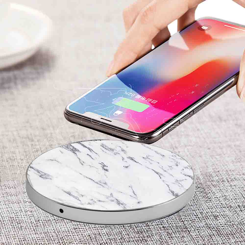 LuxeTech - Round White Real Marble+ Silver Aluminum wireless charger   Trada Marketplace