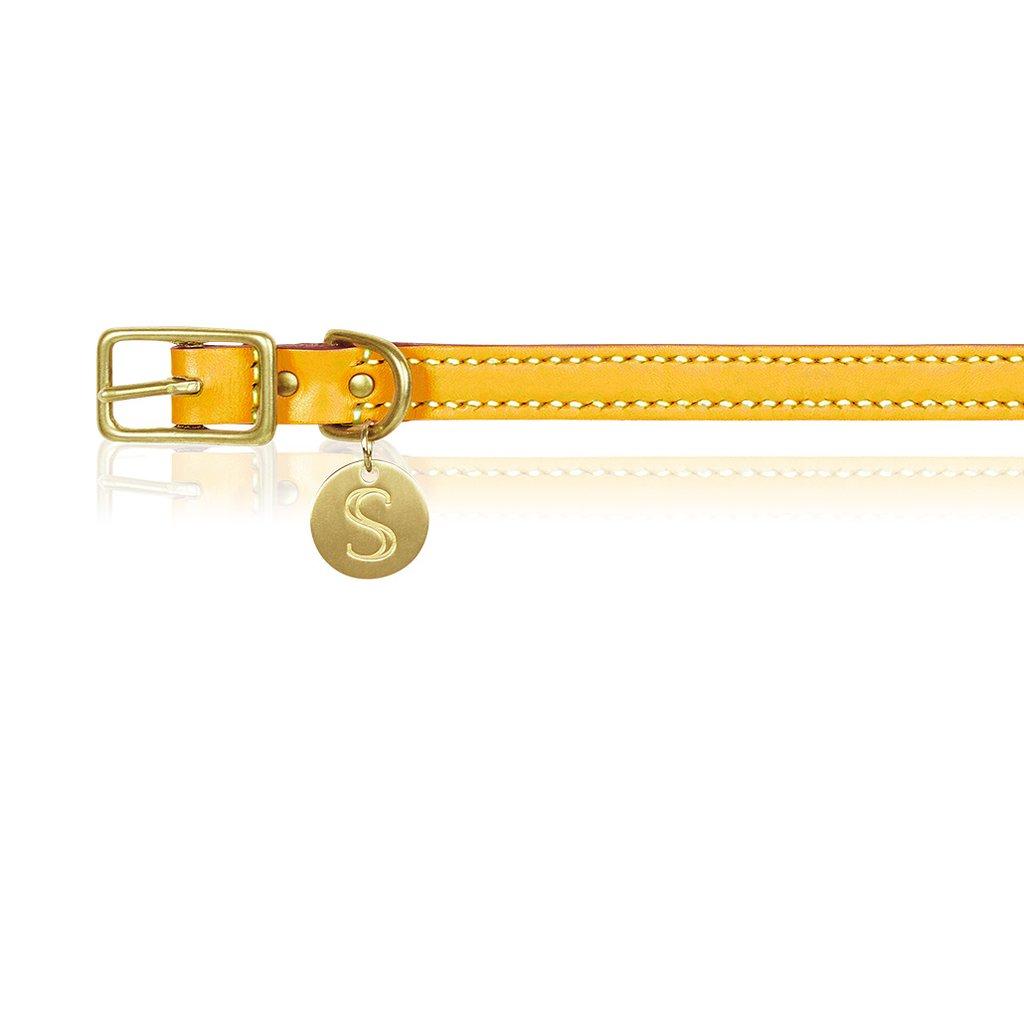 Leather Dog Collar - Mustard   Trada Marketplace