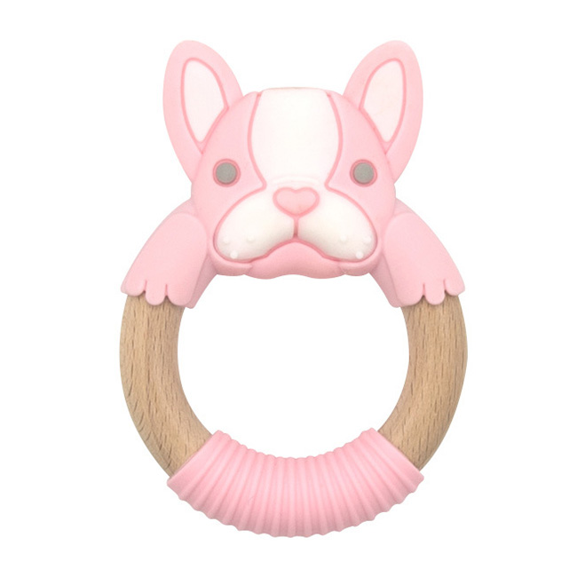 BibiBaby Teething Ring - Frankie Frenchie -Pink and White   Trada Marketplace