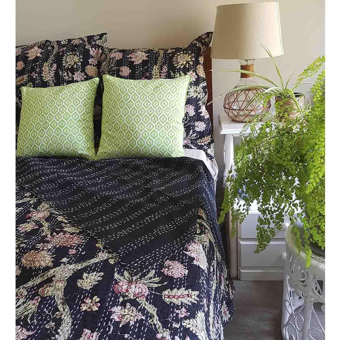 Black Tropical Garden Bedspread / Throw   Trada Marketplace