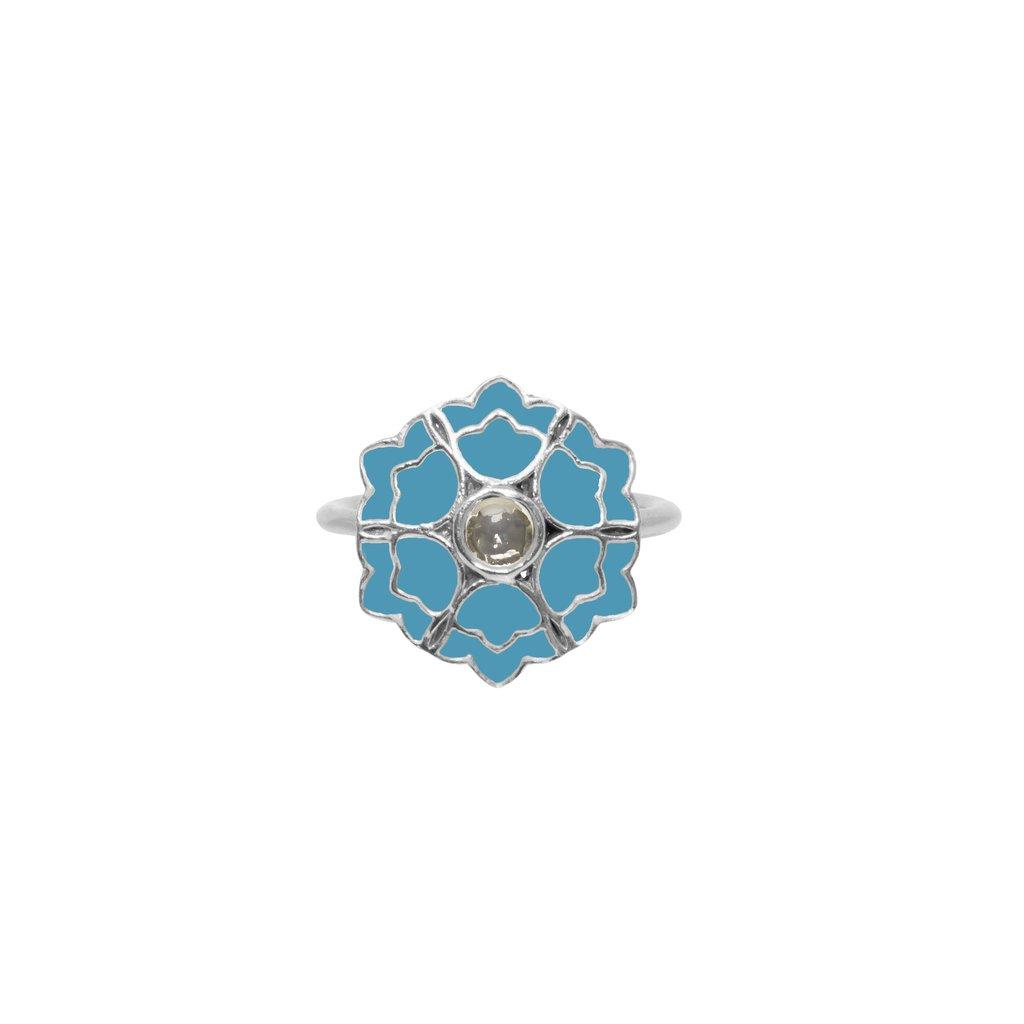 Desert Rose Ring Pale Blue   Trada Marketplace