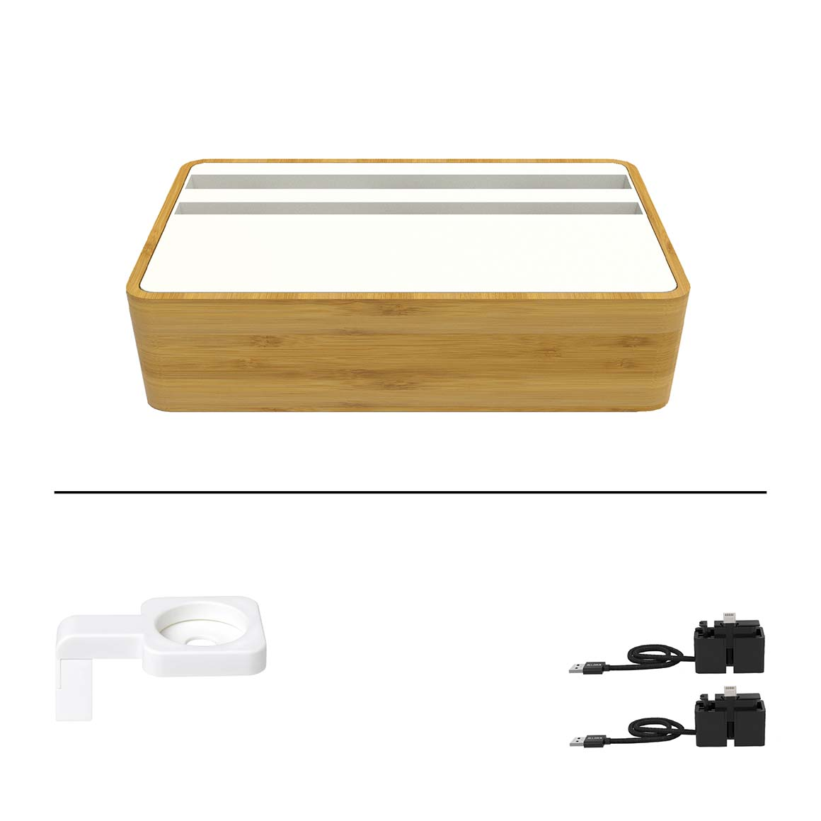 ALLDOCK - Medium Apple Package - HybridX Compact Bamboo/White + 2x MFi Cable + White Apple Watch Mount   Trada Marketplace