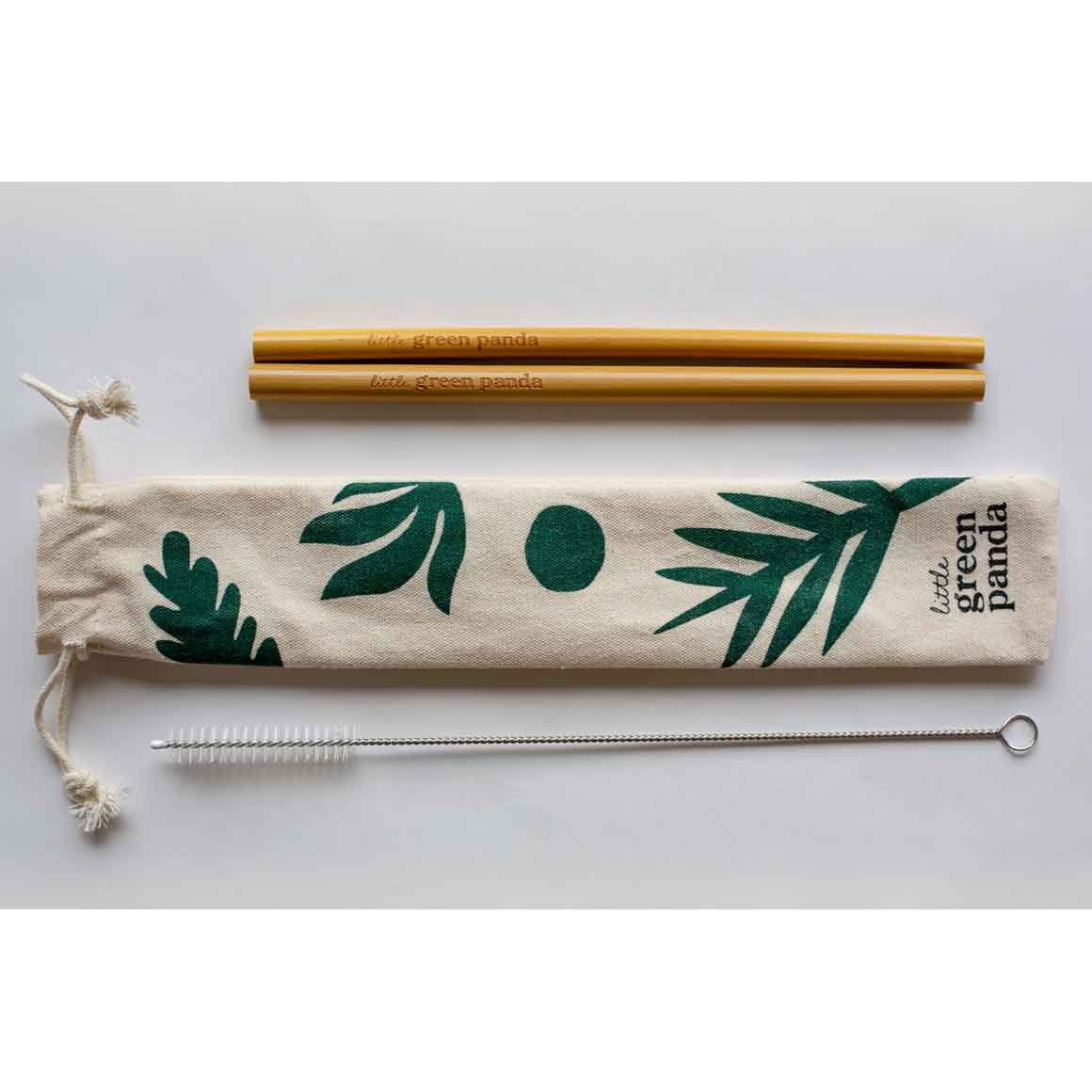 2 Bamboo Straws 1 Cleaning Brush Travel Pouch | Trada Marketplace