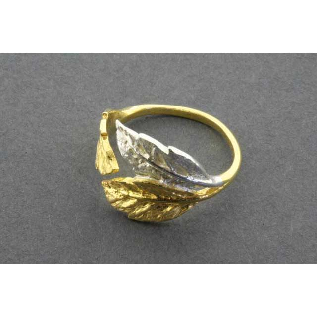 3 leaf ring - silver & gold plated - adjustable | Trada Marketplace