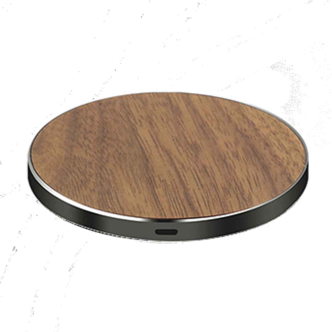 LuxeTech - Round Walnut Wood+ Black Aluminum wireless charger   Trada Marketplace