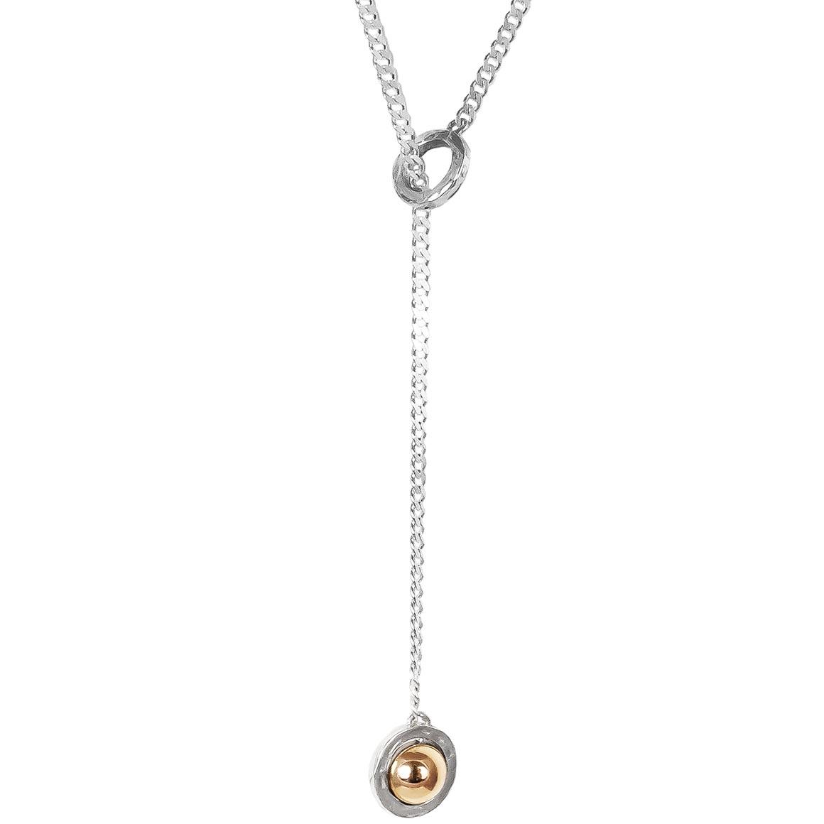Atticus Large Charm Lariet Necklace   Long | Polished Rose Detail | Trada Marketplace