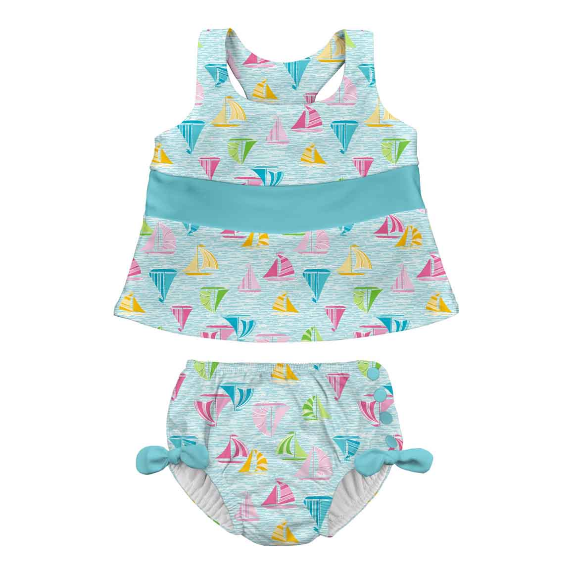 Bow Tankini Swimsuit Set with Snap Reusable Absorbent Swim Diaper-Light Aqua Sailboat Sea | Trada Marketplace