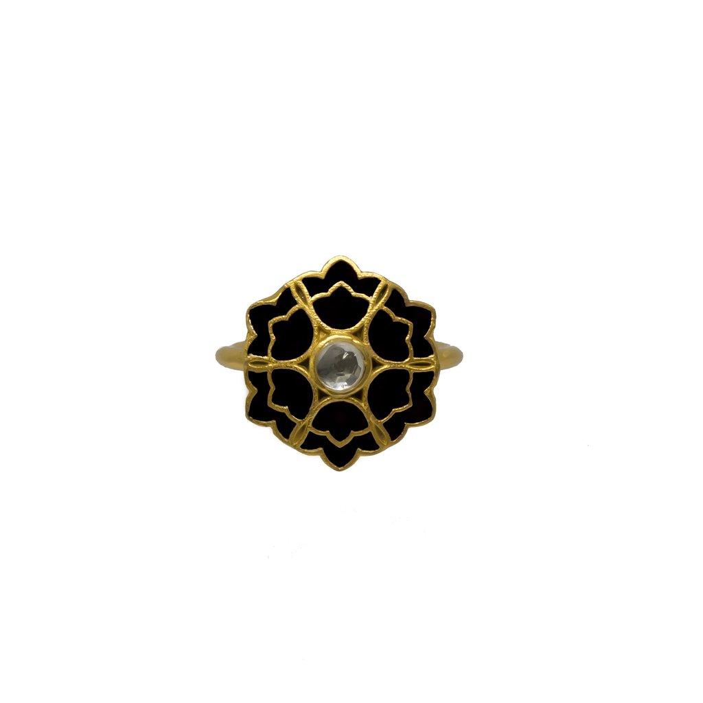 Desert Rose Ring Black   Trada Marketplace
