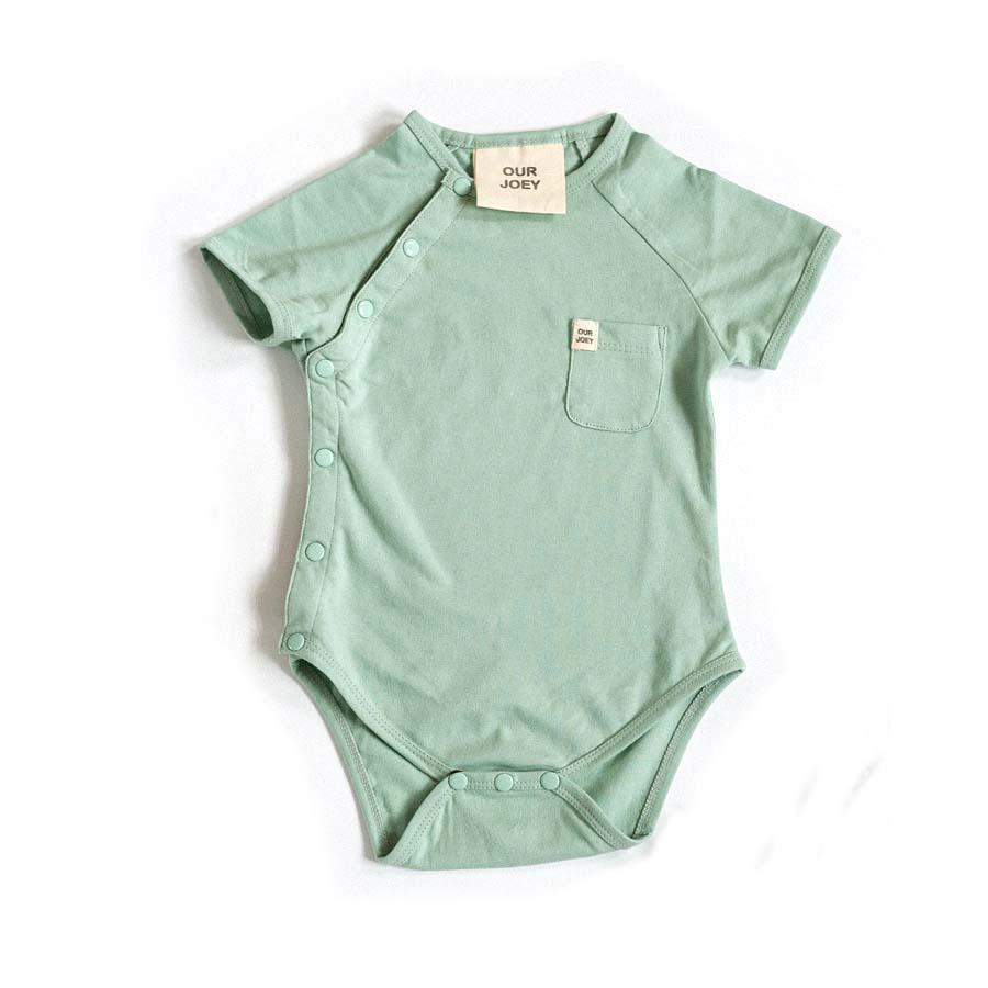 Organic Short-sleeve Bodysuit - Aqua Foam | Trada Marketplace