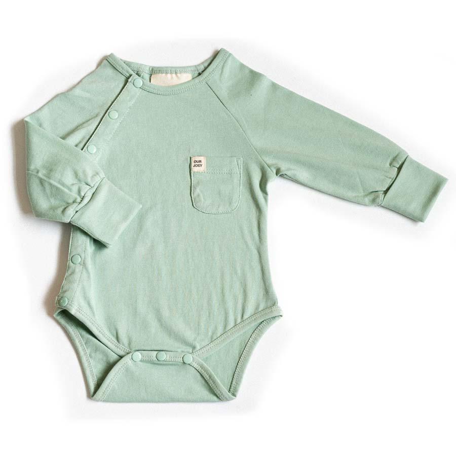 Organic Long-sleeve Bodysuit - Aqua Foam | Trada Marketplace
