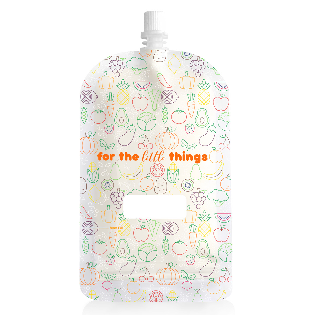 200ml Reusable Food Pouch - Fruit and Veg Print (10 pack) | Trada Marketplace