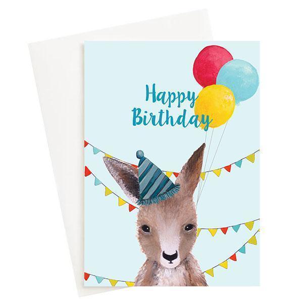 Happy Birthday Kangaroo Greeting Card Blue   Trada Marketplace