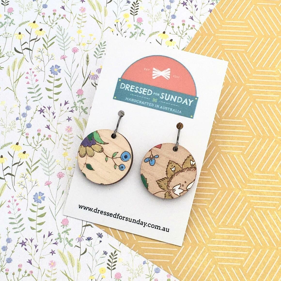 French Wallpaper Round Earrings   Trada Marketplace