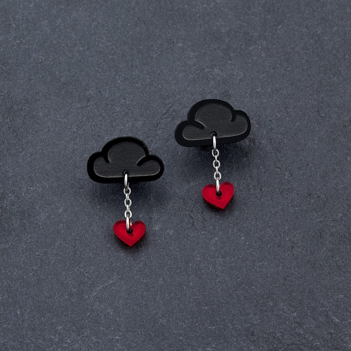 Stud Earrings - LOVE RAINDROPS - Black | Trada Marketplace