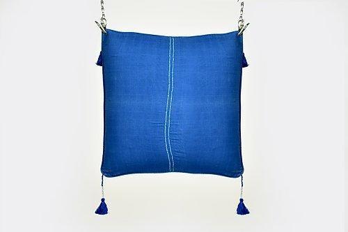 Amber deep blue cushion with tassels | Trada Marketplace