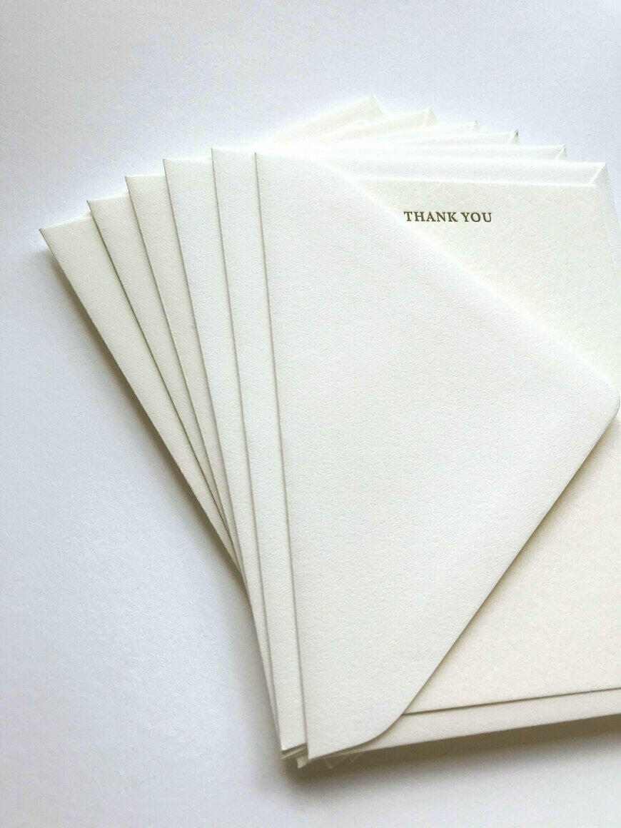 Letterpress Thank You Note Cards   Trada Marketplace