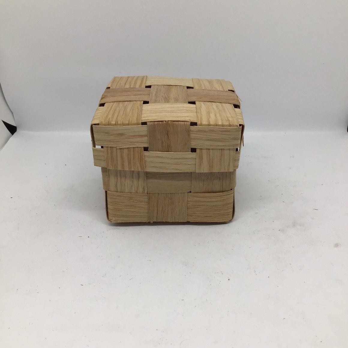 Wooden Box with Lid (10x10x9cm) Woven from reclaimed timber veneer -Gift box, hamper | Trada Marketplace