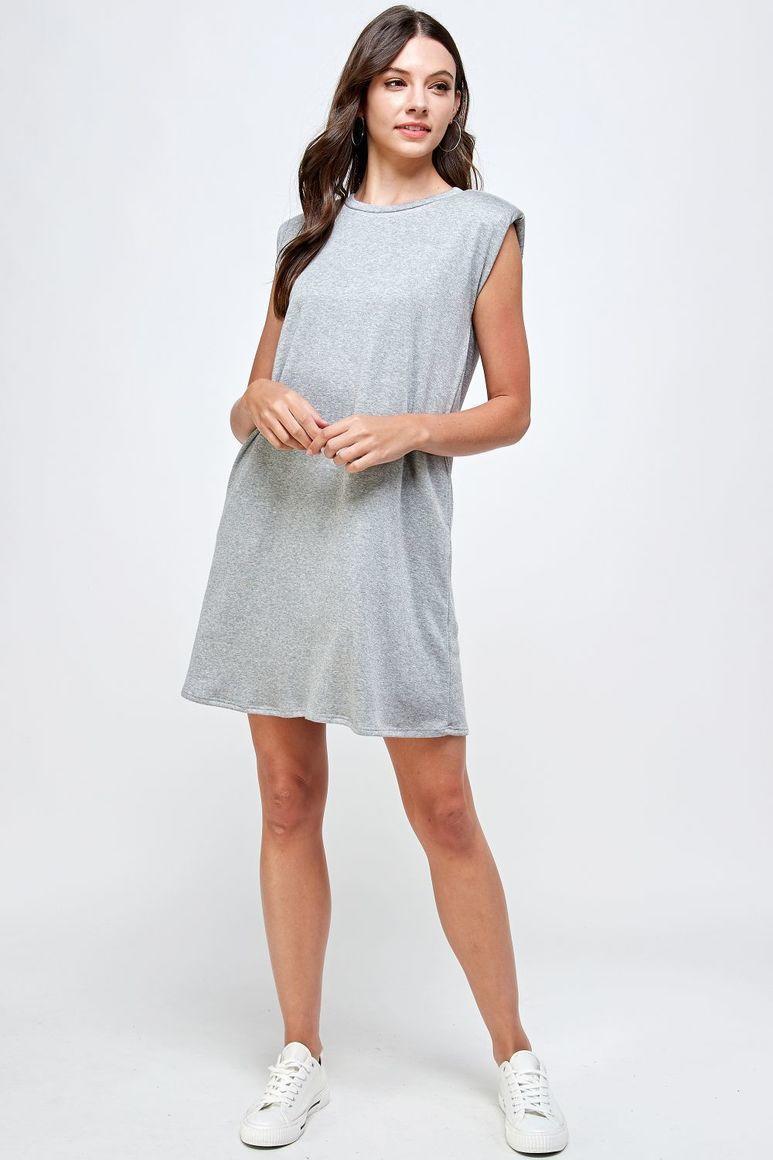 Joyous Shoulder Pad Dress - Grey | Trada Marketplace