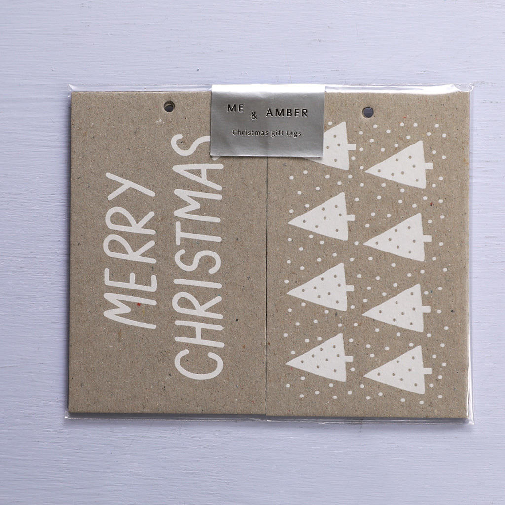 CHRISTMAS GIFT TAGS - WHITE ON NATURAL   Trada Marketplace