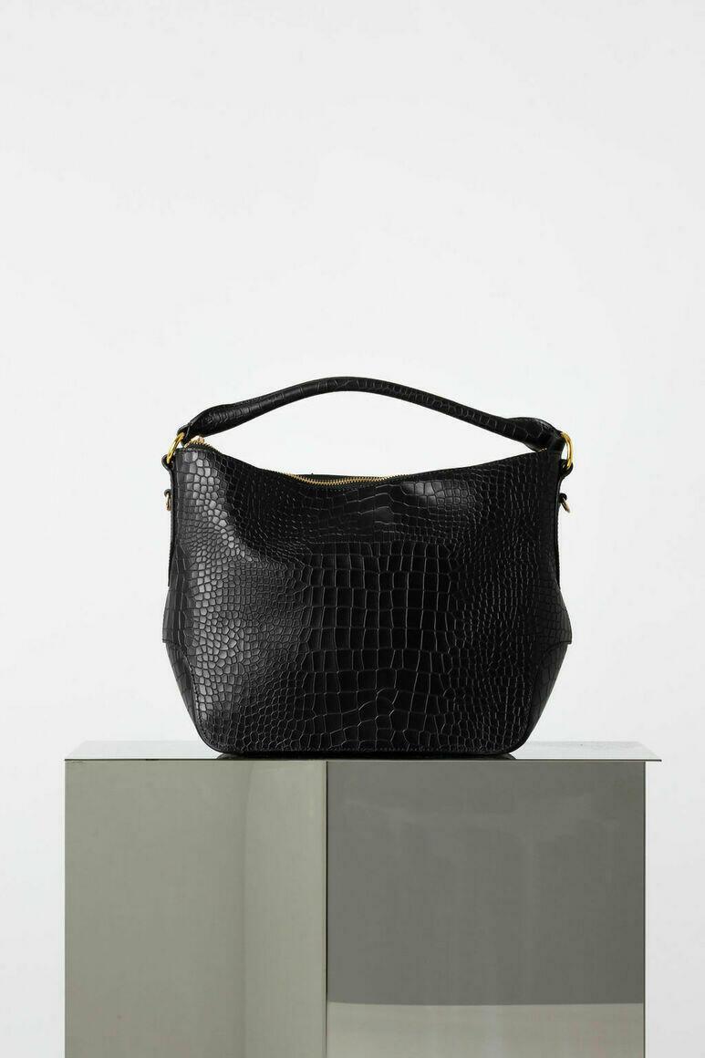 Dani Hobo Bag in Black Croc   Trada Marketplace