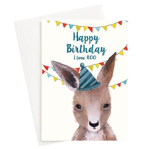 Happy Birthday I love Roo Greeting Card Cream   Trada Marketplace