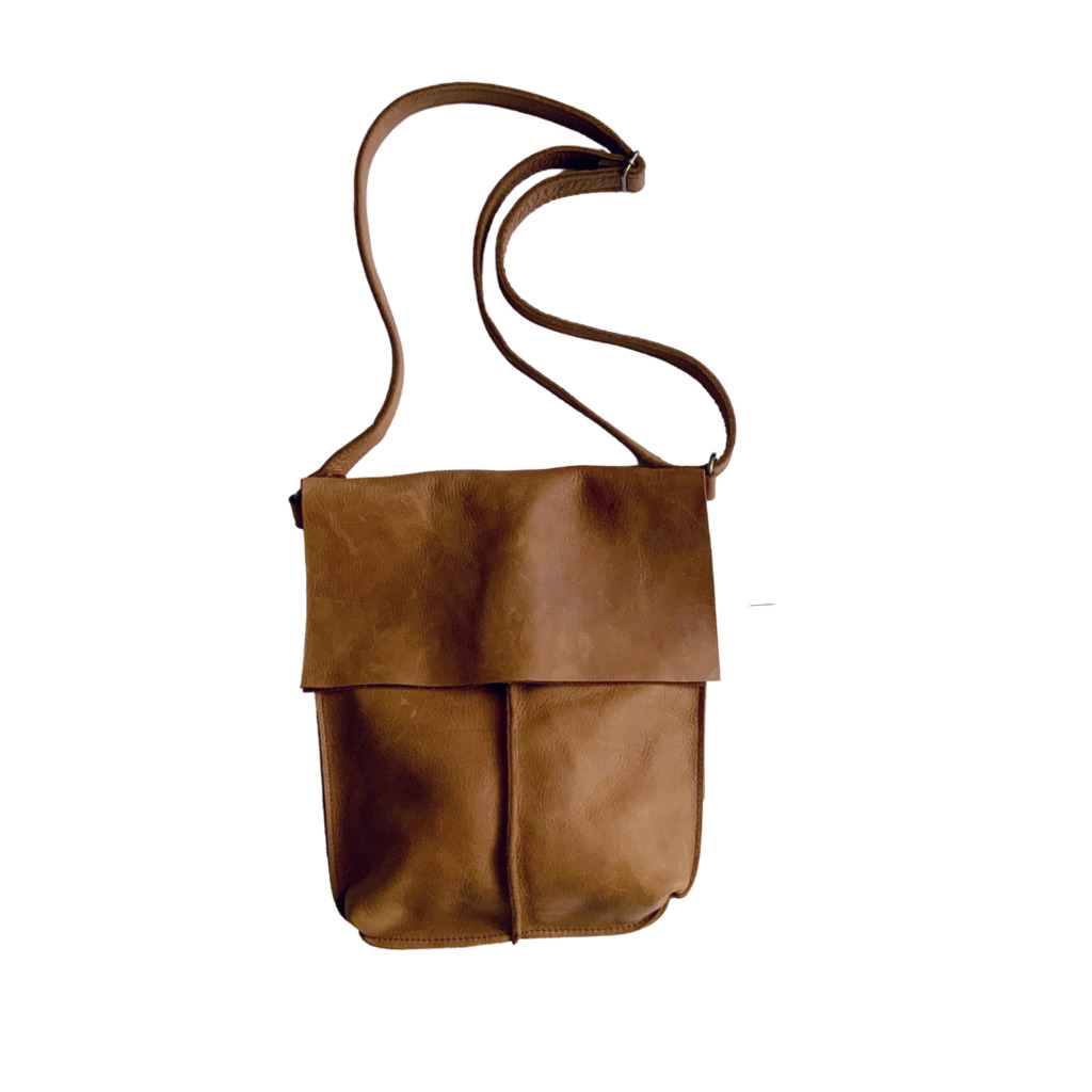 Tan Cowhide Leather Fold Over Slouch   Trada Marketplace