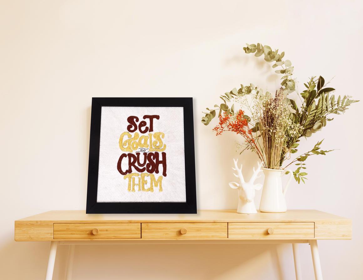 SET GOALS & CRUSH THEM Wall Art WHITE   Trada Marketplace