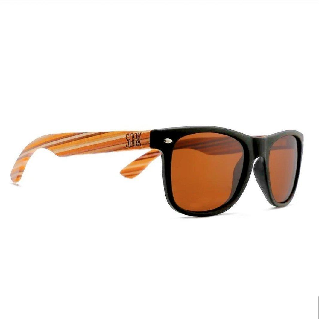 TORQUAY - Black Sustainable Polarized Sunglasses with Mustard Wooden Striped Arms - Adult | Trada Marketplace