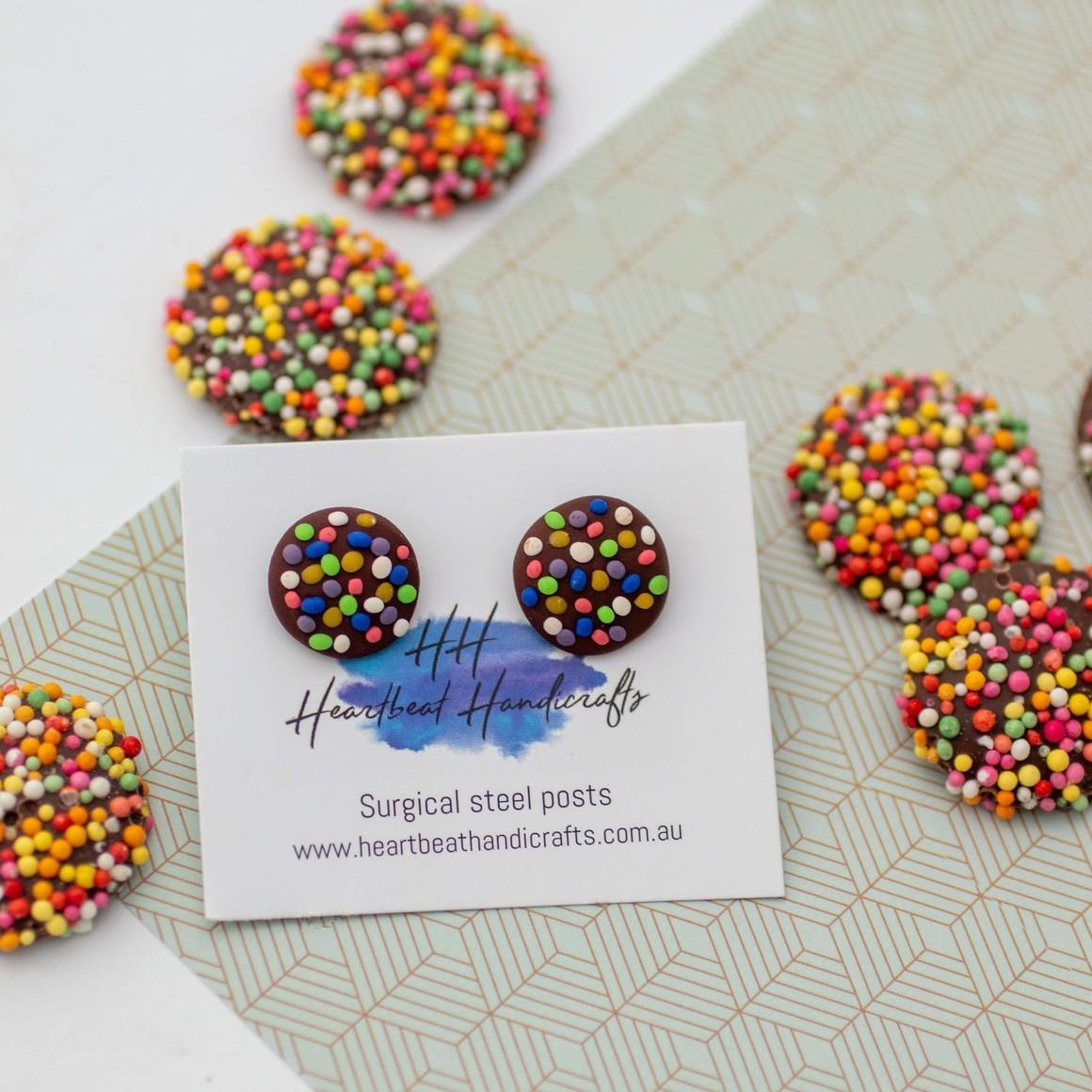 Chocolate freckles handmade stud earrings   Trada Marketplace