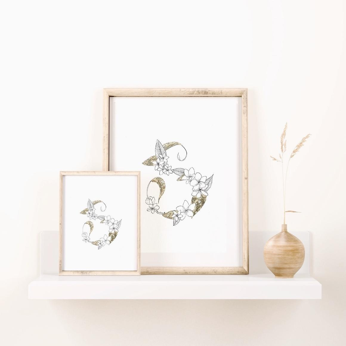 Lettering S With Full Plumeria - B & W Art Print With Gold Flake   Trada Marketplace