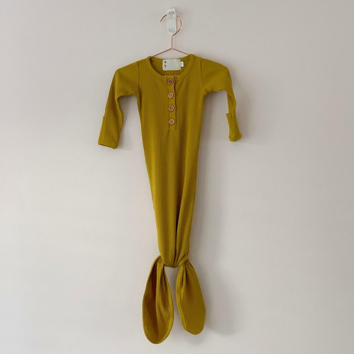 Golden Ribbed Knotted Gown | Trada Marketplace