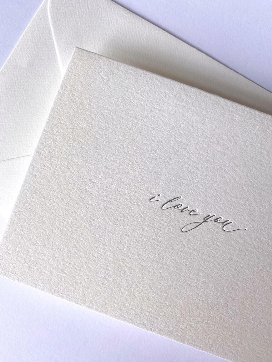 I Love You   Letterpress Greeting Card   Trada Marketplace