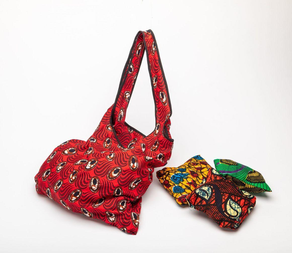 African fabric foldable shopping bag | Trada Marketplace