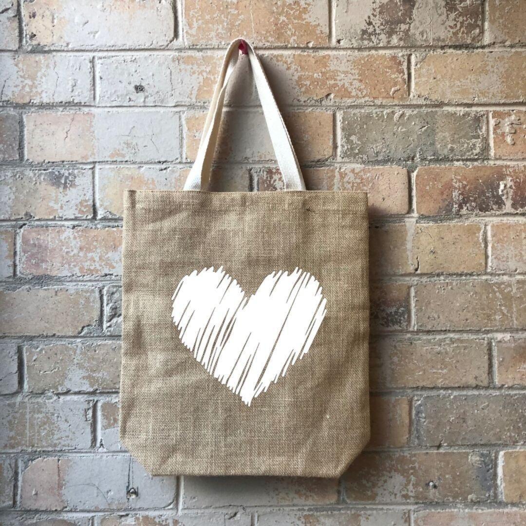 Scribbly Heart Junior Casual Shopper White   Trada Marketplace
