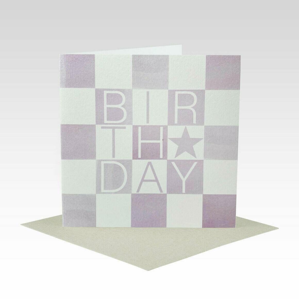 HB083 – Lilac Check Birthday Card   Trada Marketplace