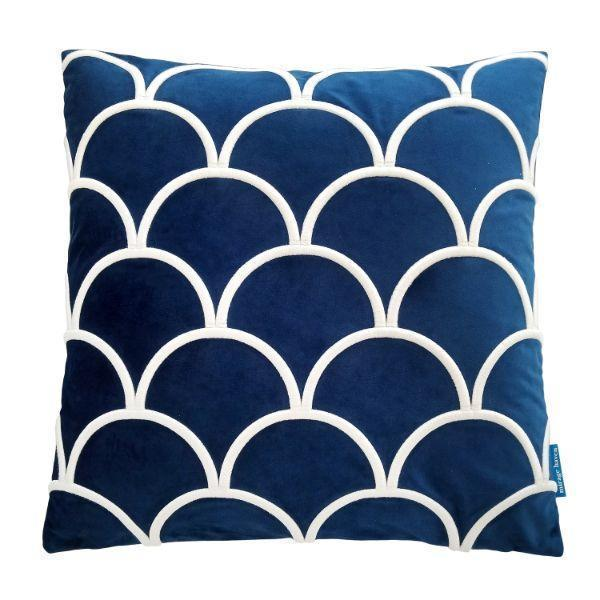 DARLEY Dark Blue and White Scallop Embroidered Velvet Cushion Cover 50 cm by 50 cm   Trada Marketplace