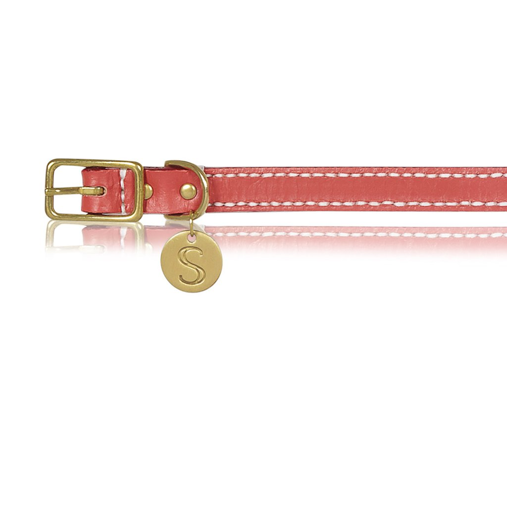 Leather Dog Collar - Terracotta Red   Trada Marketplace