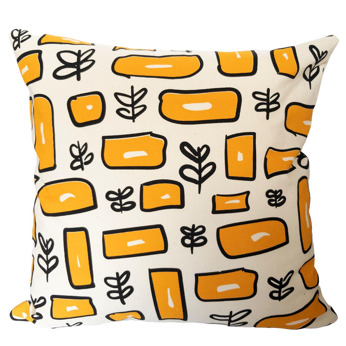 Vintage Inspired Hand Screen Printed 100% cotton square pattern cushion cover-2 Colourways-Cover Only | Trada Marketplace
