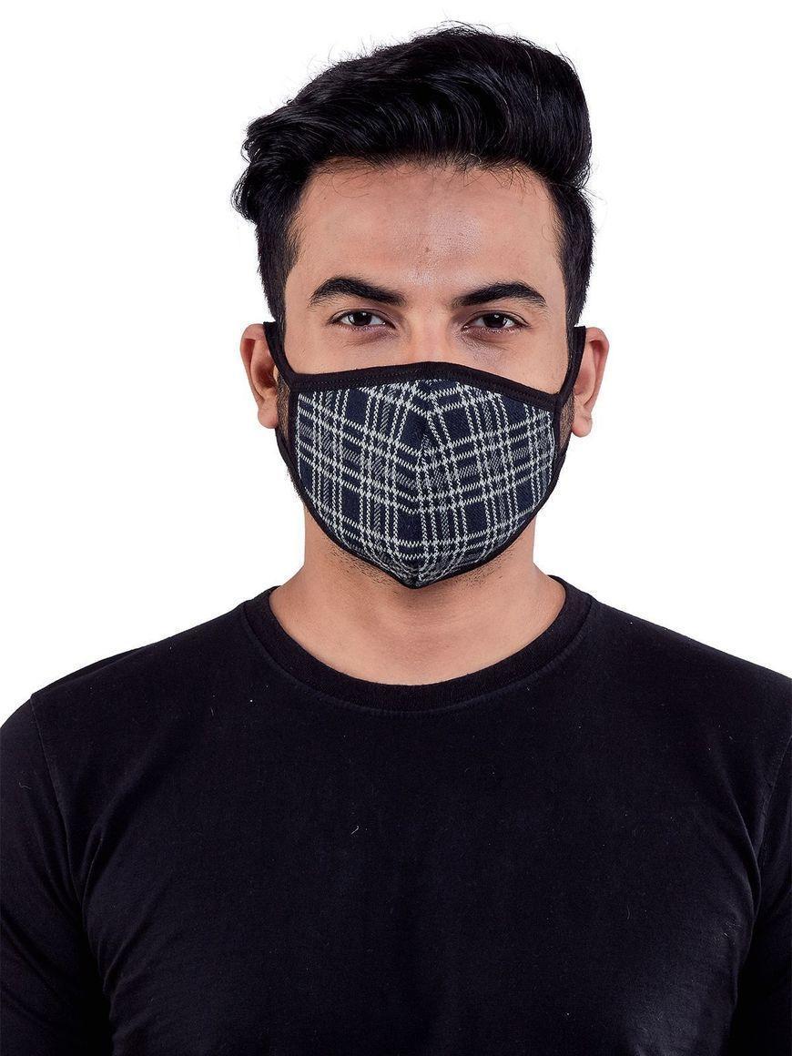 Check-Black-jacquard-three-layer-cotton-mens-mask | Trada Marketplace