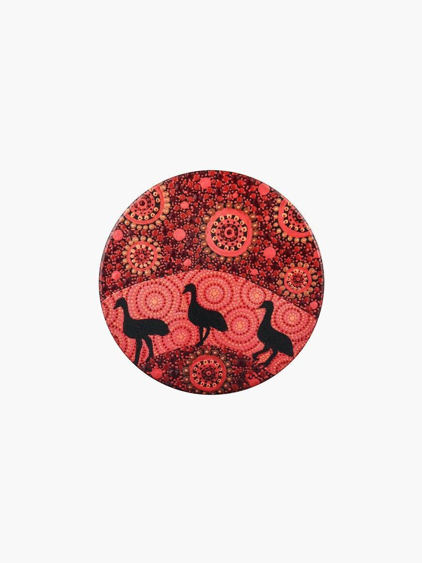 Aboriginal Emu Ceramic Coaster | Trada Marketplace