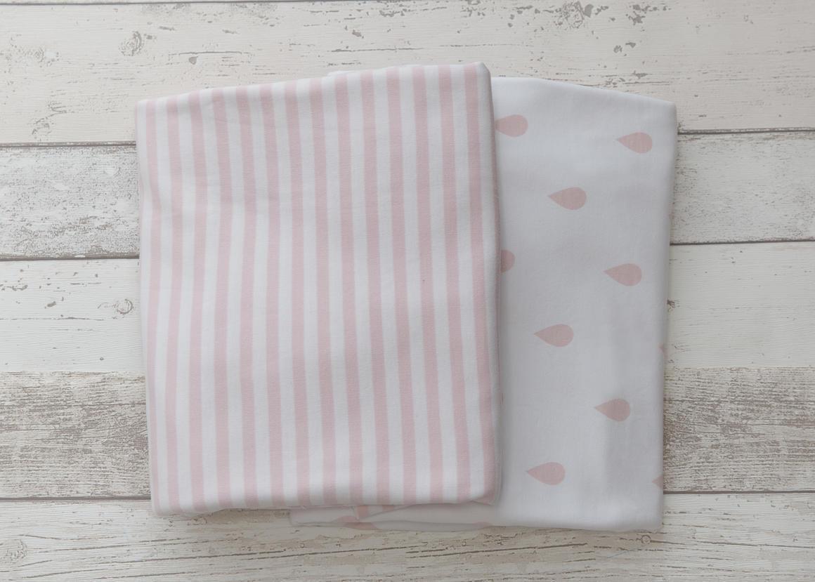 L'il Fraser Pink Raindrop & Pink Stripe 2-pack Fitted Sheet Set   Trada Marketplace