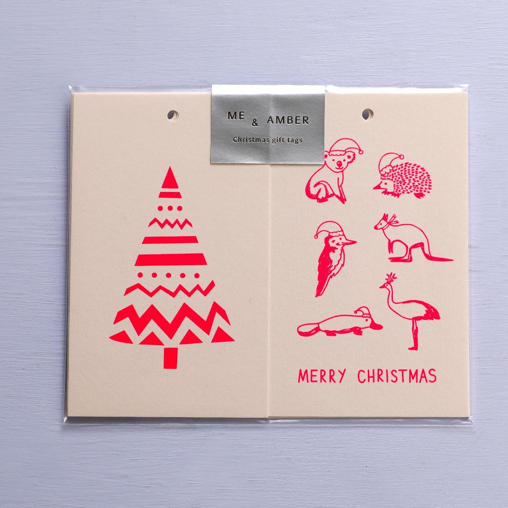 CHRISTMAS GIFT TAGS - NEON CORAL ON BLUSH   Trada Marketplace