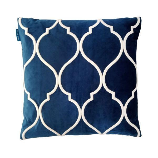 DARLEY Dark Blue and White Trellis Embroidered Velvet Cushion Cover 50 cm by 50 cm   Trada Marketplace