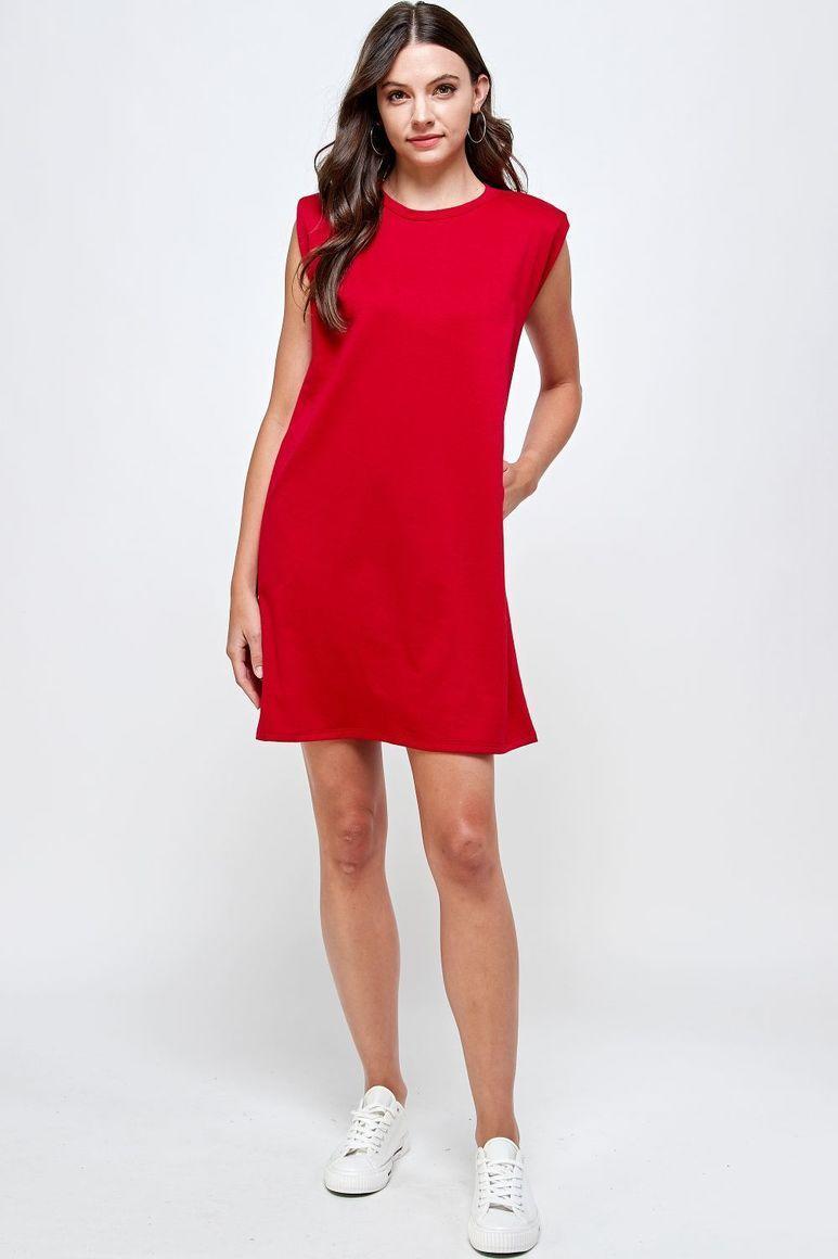 Joyous Shoulder Pad Dress - Red | Trada Marketplace