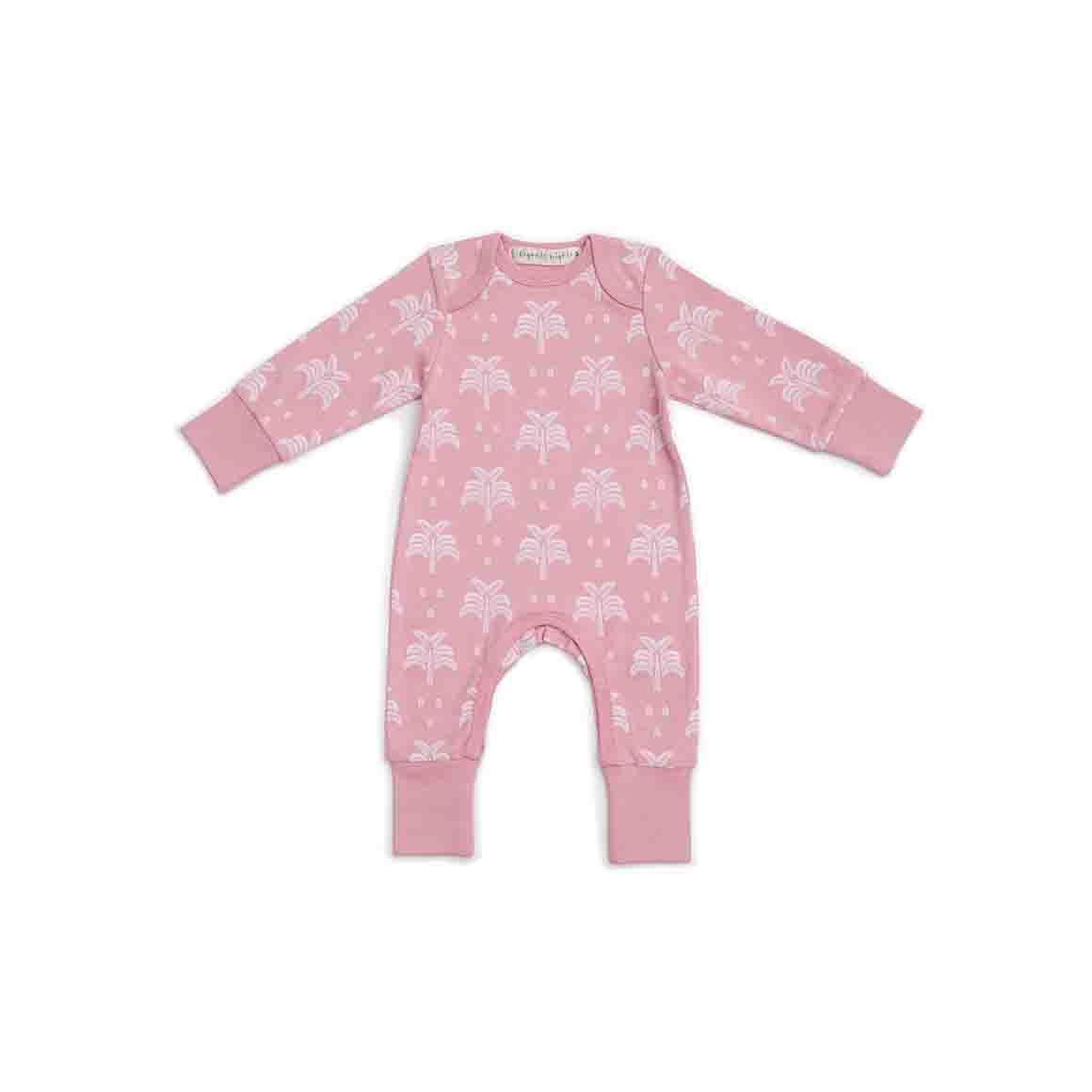 Baby Sleepsuit - Long Arm/Long Leg (Blush Pink In Palms & Pineapples Print)   Trada Marketplace