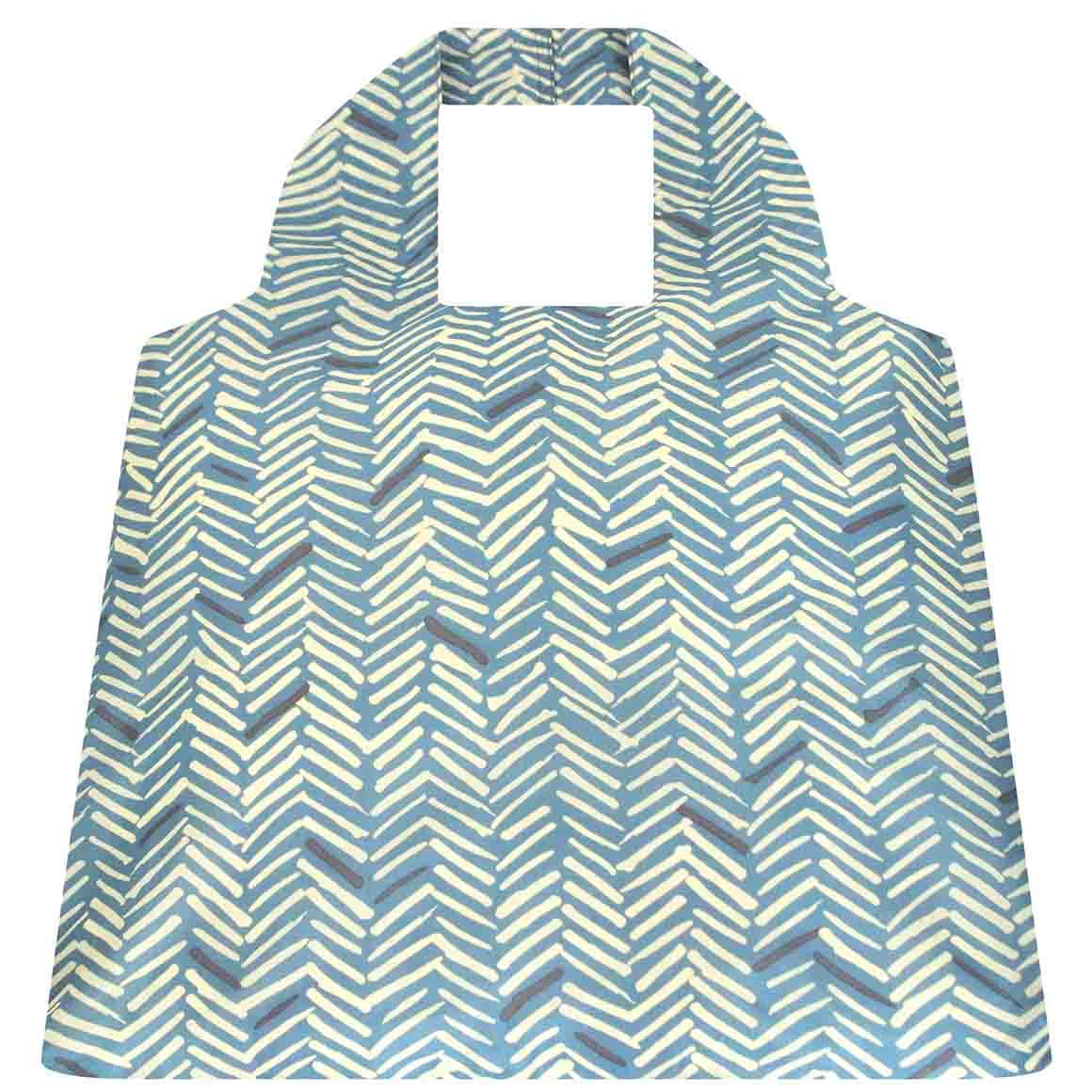 Herringbone Blue SAKitToMe Foldable Shopping Bag  | Trada Marketplace