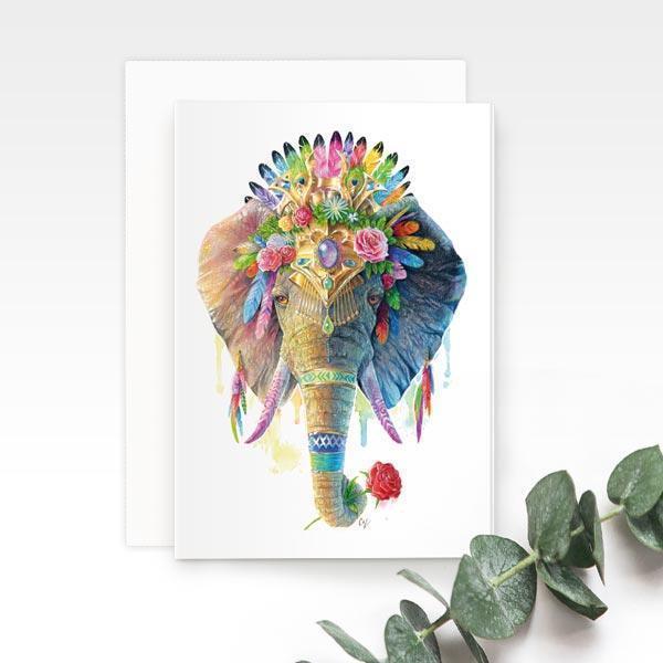 Bohemian Elephant Greeting Card | Trada Marketplace