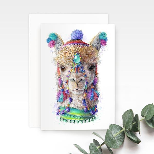 Bohemian Alpaca Llama Greeting Card | Trada Marketplace